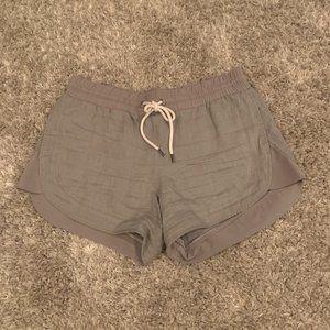 athleta grey drawstring shorts